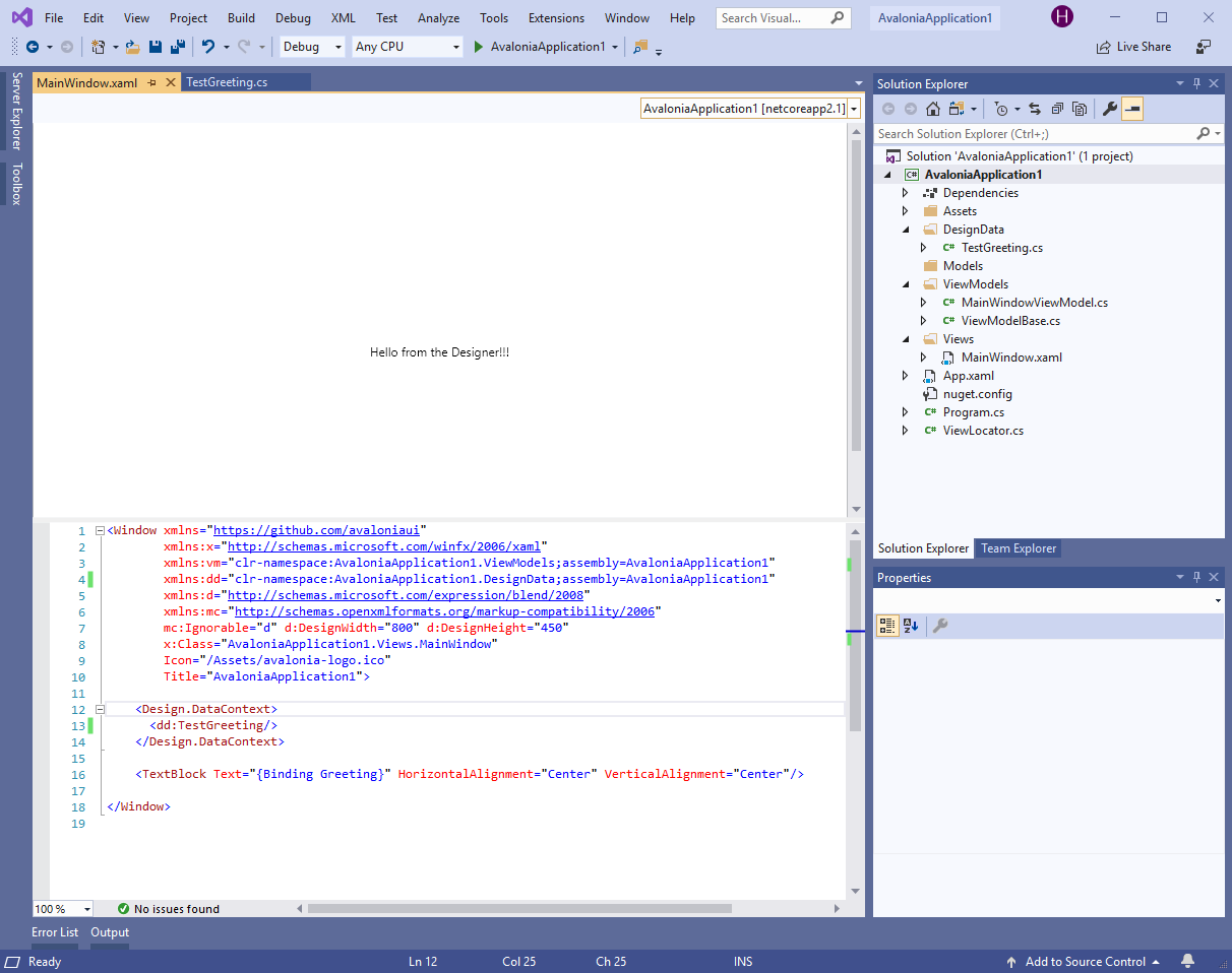 Visual Studio Screenshot of final project